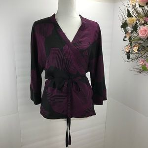 Calvin Klein silk wrap blouse black paramour 8
